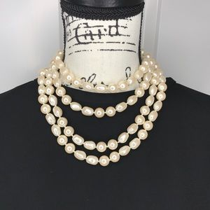 "60"" baroque white pearl rope"